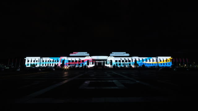 Night Scenery view of visual lighting show on previous Parliament House