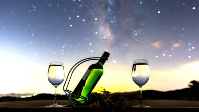 night scenery with wine bottle and glasses in hwangmaesan mountain / hapcheon-gun, gyeongsangnam-do, south korea - champagne flute stock videos & royalty-free footage