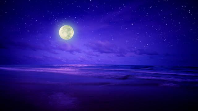 night sea, sky and moon - moonlight stock videos & royalty-free footage