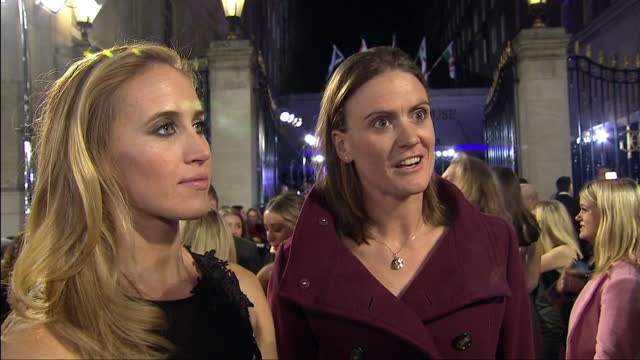 night shot of olympic athlete rowers helen glover heather stanning giving an interview on the red carpet at the pride of britain awards on october 31... - helen glover rower stock videos and b-roll footage
