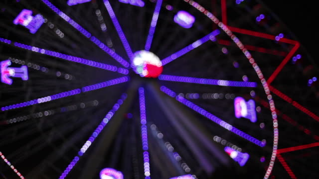 Night shot of Texas Star ferris wheel during Texas State Fair with rack focus on alternating light patterns