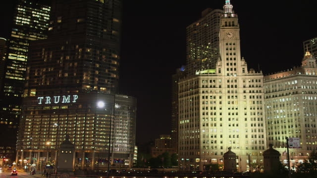 Night Shot of the Trump International Hotel & Tower and The Wrigley Building