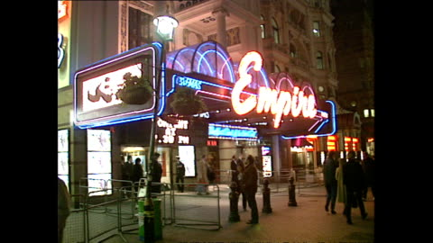night shots empire cinema, leicester square on january 24, 1989 in london, united kingdom. - 1980 1989 stock videos & royalty-free footage