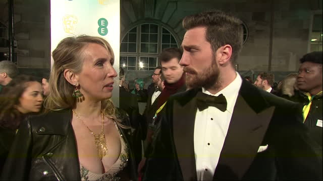 night shots of actor aaron taylor johnson and his wife sam taylor johnson talking about working on the film nocturnal animals on february 12 2017 in... - working animals stock videos & royalty-free footage