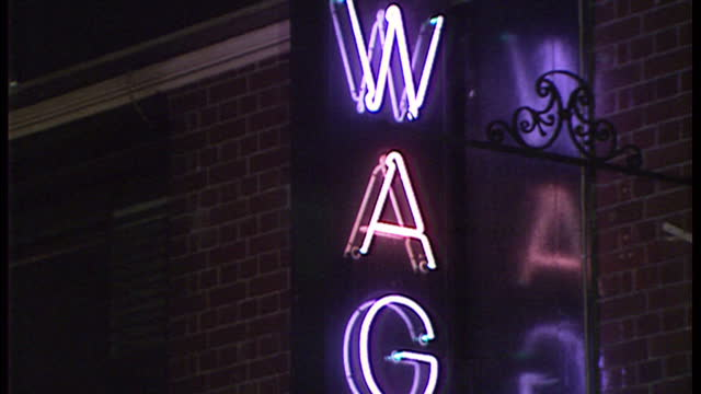 night shots of doormen and queues at nightclubs, including wag, limelight, dingwalls and samantha's discotheque on january 17, 1990 in london,... - nightlife stock videos & royalty-free footage