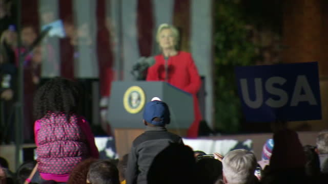 Night shots of Hillary Clinton addressing crowds of supporters at a campaign rally in Philadelphia>> on November 08 2016 in Philadelphia Pennsylvania