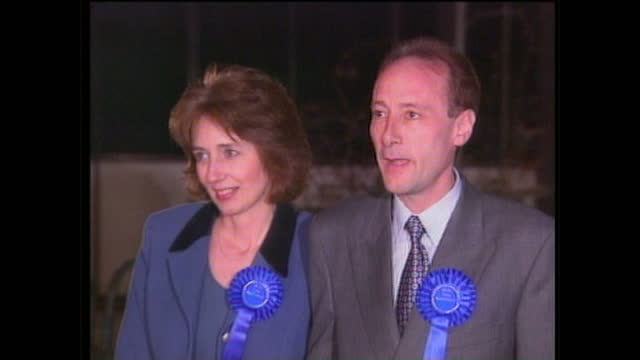 Night shots of Piers Merchant and his wife Helen announcing he has been selected as the Conservative candidate for Beckenham and answering questions...