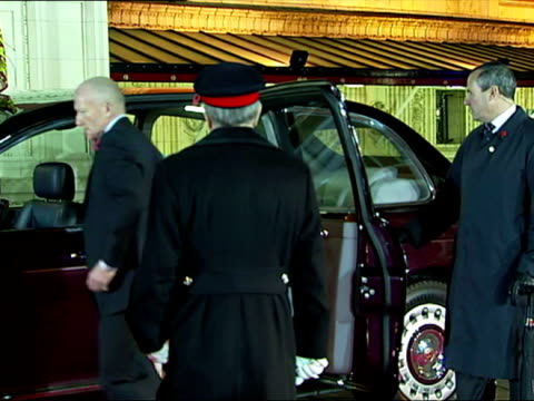 night shots of queen elizabeth ii and prince philip duke of edinburgh arriving at the royal albert hall for the festival of remembrance the queen... - queen elizabeth hall stock videos and b-roll footage