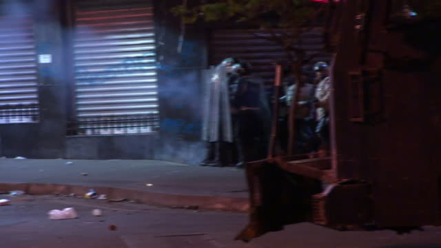Night shots of violent clashes in Caracas between police and demonstrators protesting against surging inflation and food shortages