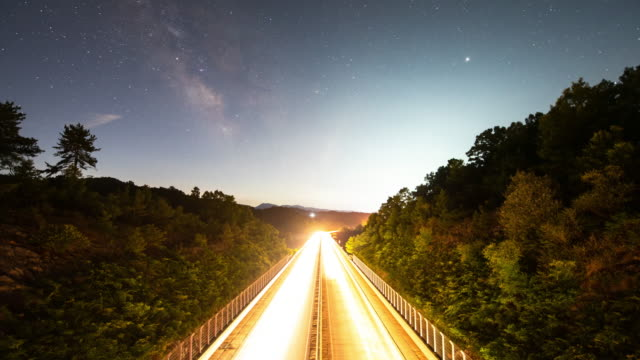 night sky above highway / south korea - mountain road stock videos & royalty-free footage