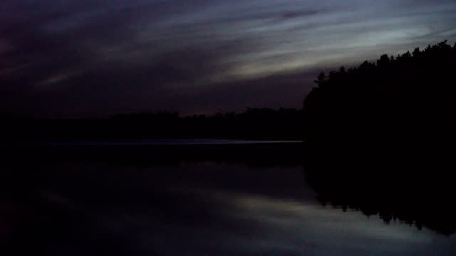 night sky above lake. peaceful scenery with dark clouds - romantic sky stock videos & royalty-free footage