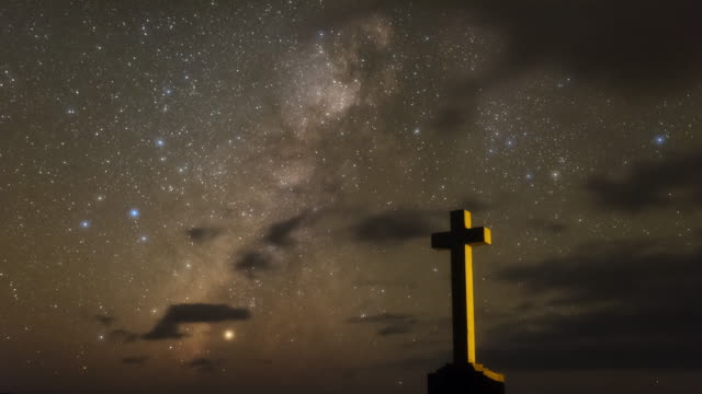 Night Sky and a Cross Statue