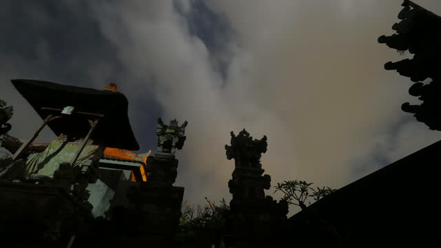 night sky and clouds in ubud district / bali, indonesia - temple building stock videos & royalty-free footage