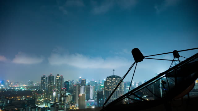 Night Sky and Satellite Dish Time Lapse with City light background