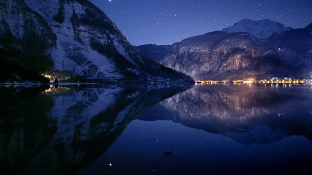 Night sky and stars above Hallstatt