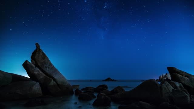 stockvideo's en b-roll-footage met nachtelijke hemel en sterren. time lapse video - melkweg