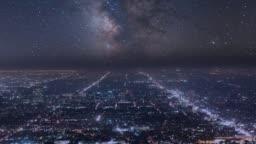 Night Sky Milky Way over City of Los Angeles