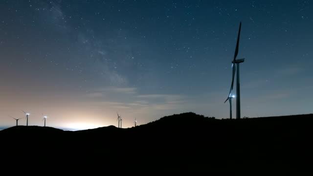 night sky of wind power complex / gyeongsangbuk-do, south korea - renewable energy stock videos & royalty-free footage