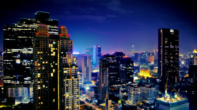 night sky over big city - bangkok stock videos & royalty-free footage