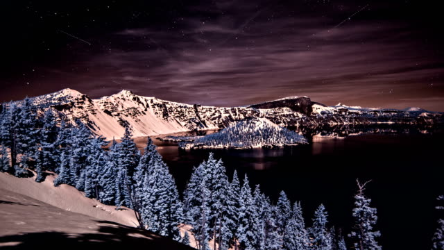 night sky over crater lake oregon - crater lake oregon stock videos & royalty-free footage