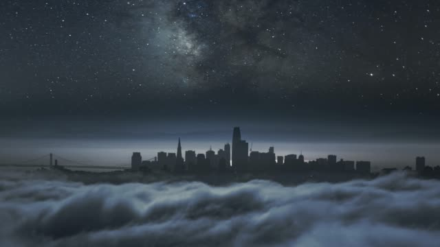night sky over dark city skyline - power cut stock videos & royalty-free footage