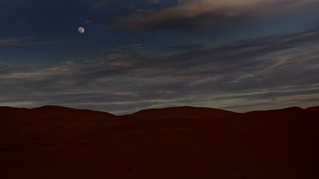 Night sky over desert. Full moon.