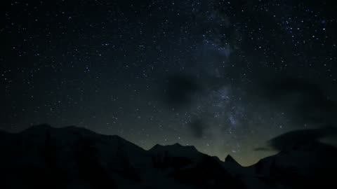 night sky over mountains and glacier, timelapse into new day - day 個影片檔及 b 捲影像
