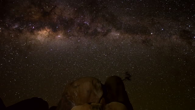 t/l night sky over rock formation - natural landmark stock videos & royalty-free footage