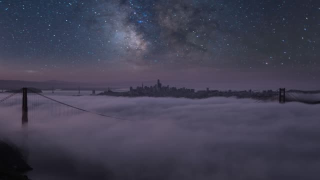 night sky over san francisco golden gate bridge - western usa stock videos & royalty-free footage