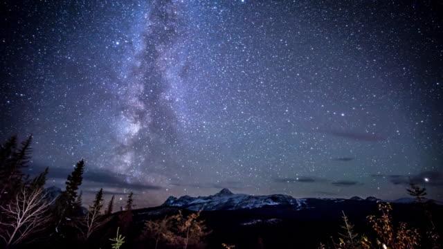 night sky over snow mountain - milky way stock videos & royalty-free footage