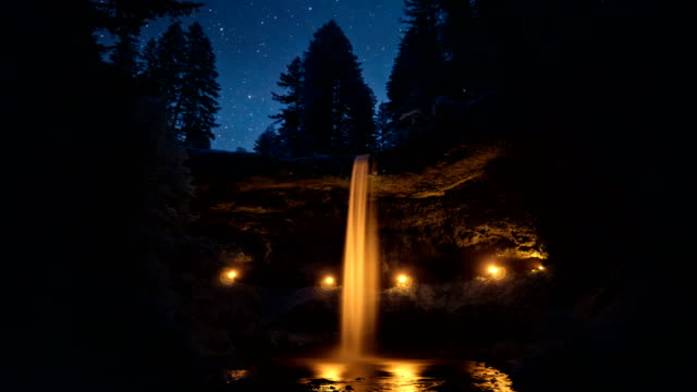 Night Sky Passing Over Silver Falls State Park, Oregon