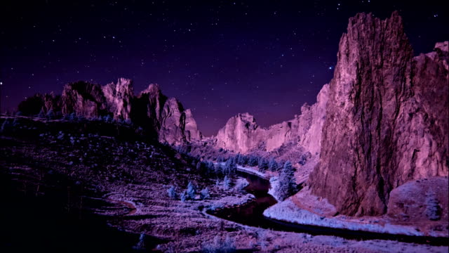 night sky passing over smith rock state park, oregon - smith rock state park stock videos & royalty-free footage