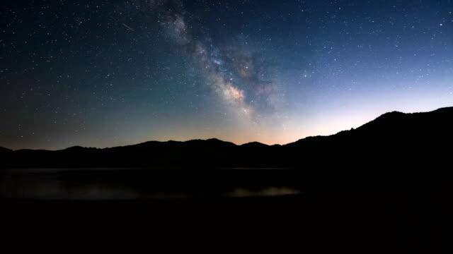 night sky scenery of andongho lake / andong-si, gyeongsangbuk-do, south korea - seeufer stock-videos und b-roll-filmmaterial