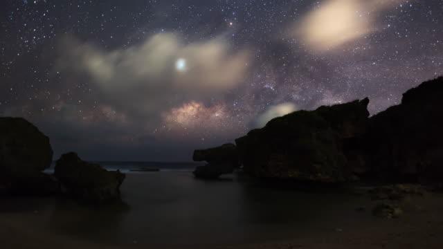 night sky scenery of beach in saipan / saipan, northern mariana islands, united states - boulder rock stock videos & royalty-free footage