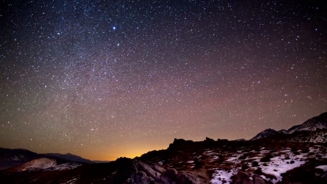 cielo di notte time lapse - a forma di stella video stock e b–roll
