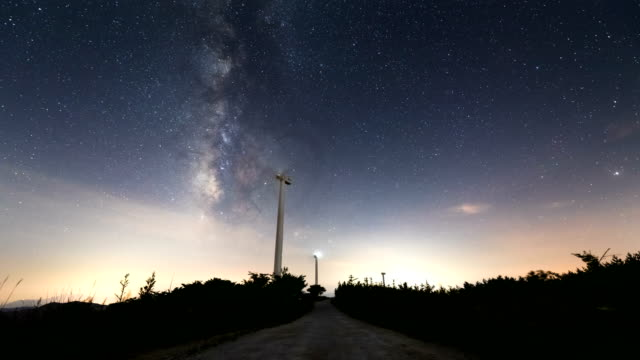 night sky with a wind power generator / gangwon-do, south korea - astronomy stock videos & royalty-free footage