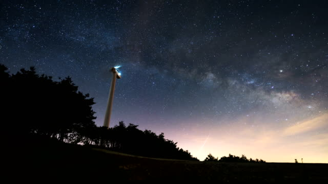 night sky with a wind power generator / gangwon-do, south korea - hill stock-videos und b-roll-filmmaterial