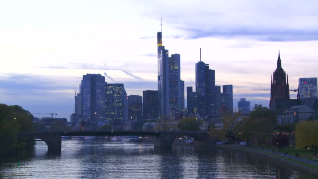 Night Skyline Of Frankfurt Am Main Time Lapse
