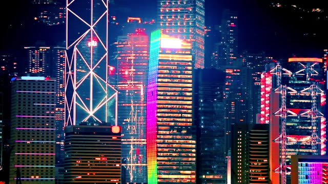 night skyscrapers - neon colored stock videos & royalty-free footage