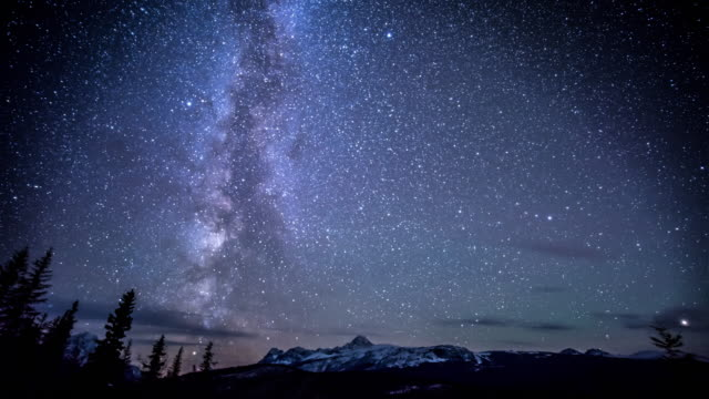 night star over snow mountain - constellation stock videos & royalty-free footage