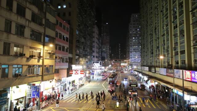 ws ha night street scene / hong kong, china - pedestrian stock videos & royalty-free footage