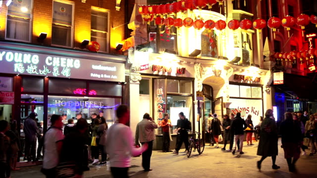 night street scene in london chinatown - chinatown stock videos & royalty-free footage