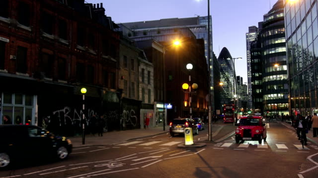 Night Street Scene In The City Of London