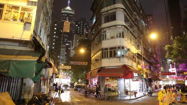 WS Night street scene with traffic / Hong Kong, China