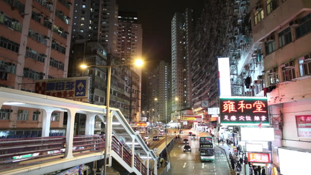 WS HA Night street scene with traffic / Hong Kong, China