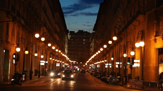 night street with cars in palma de mallorca, balearic islands, spain - balearic islands stock videos and b-roll footage