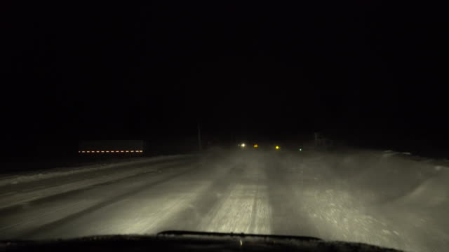 Night Time Blizzard While Driving, Whiteout Conditions, Treacherous Travel - Car Dash POV