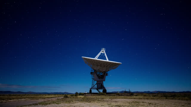 night time lapse of a telescope at the very large array - astronomy telescope stock videos & royalty-free footage