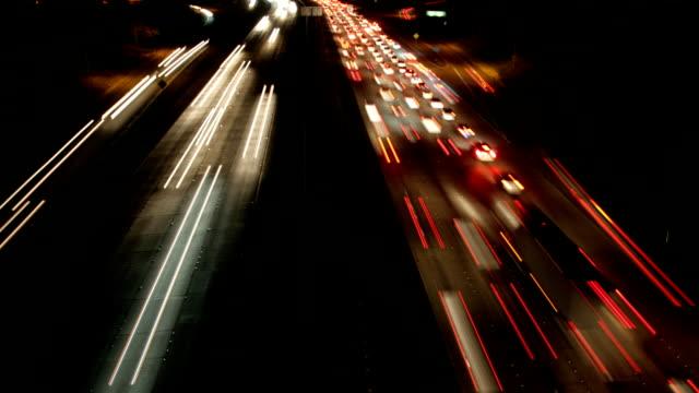 Night time lapse of freeway traffic