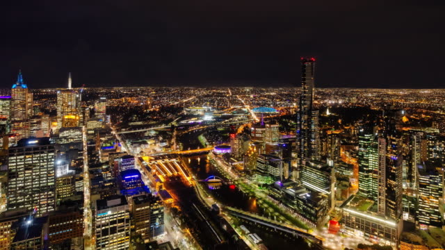 4K night Time lapse of Melbourne city skyline, Victoria, Australia
